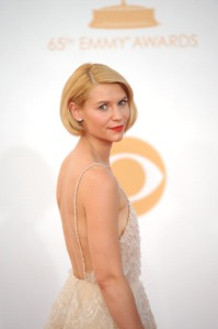Actress Claire Danes arrives on the red carpet for the 65th Emmy Awards in Los Angeles on September 22, 2013.  (Photo credit: ROBYN BECK/AFP/Getty Images)