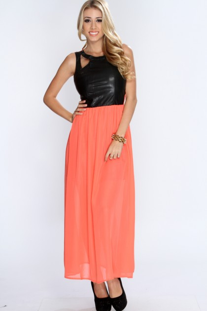 AMI Clubwear Coral Black Two Tone Sexy Maxi Dress